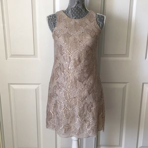Ralph Lauren Metallic Lace Grey Mini Dress sz 0P